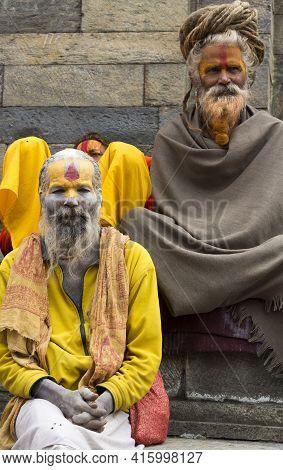 Kathmandu, Nepal - 22/04/2013: Sadhus Smiling And Posing At The Temple In Kathmandu, Nepal