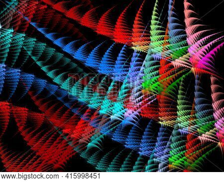 Festive Colorful Abstract Fractal Rhythmic Background. Sharp, Elongated Shapes Line Up In Rows And C