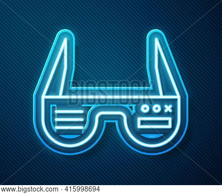 Glowing Neon Line Smart Glasses Mounted On Spectacles Icon Isolated On Blue Background. Wearable Ele