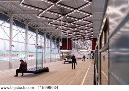 Moscow. Russia. Autumn 2019. Prokshino Metro Platform In New Moscow. New Metro Station.