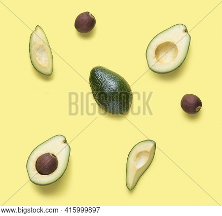Set For Designer From Avocado Pieces. Collection Whole And Half Avocados And Avocado's Seeds For Des