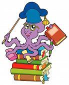 Octopus teacher on pile of books - vector illustration. poster