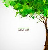 Green  abstract tree forming by blots poster