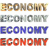 Broken economy in four colors on white background poster