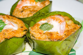 Steamed Fish With Curry Paste On Banana Leaf