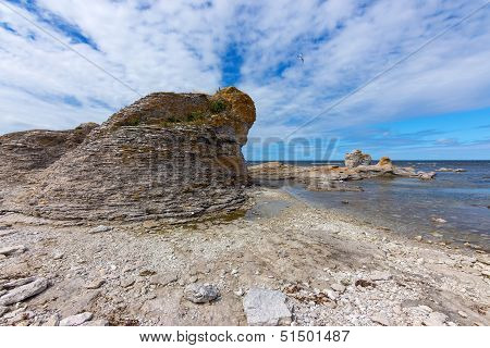 Limestone Cliff On The Rocky Coast Of Gotland, Sweden
