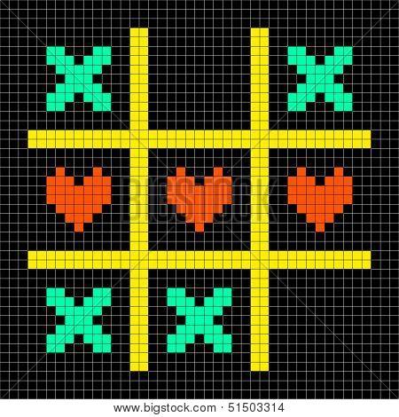8-bit Pixel Art Tic Tac Toe With Kisses And Love Heart Symbols