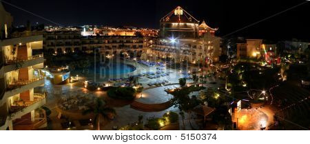 Luxury Hotel Complex With Pool At Night