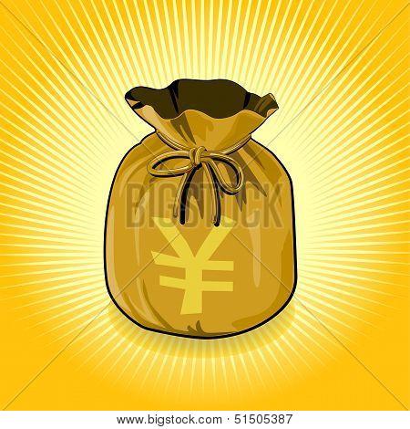 Japan YEN Gold Bag of Money Save for Success