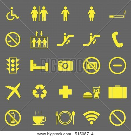 Plublic Yellow Icons On Gray Background