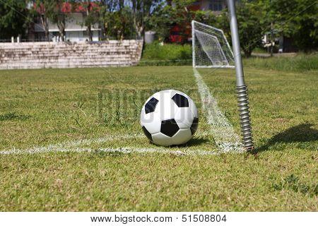 Soccer ball in conner