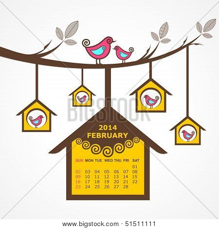 Calendar of February 2014 with birds sit on branch stock vector poster
