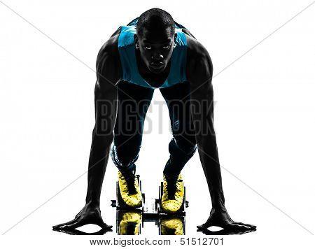 one caucasian man runner sprinter on starting blocks  in silhouette studio isolated on white background poster