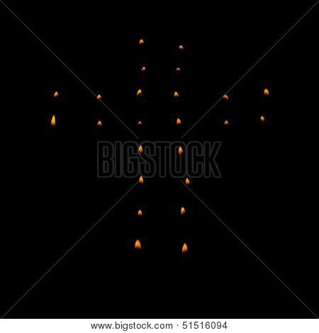 Christian Cross Made With Tea Candles