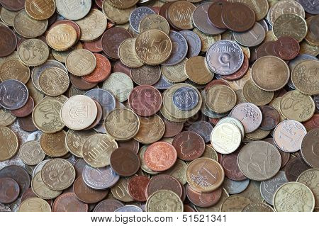 Photo Background Texture With Small Coins Of Different European Countries