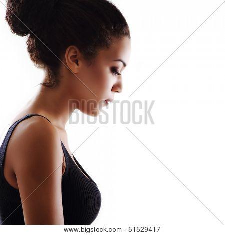 Beauty portrait of young mulatto fresh fashion woman