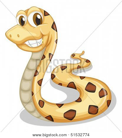 Illustration of a smiling snake on a white background