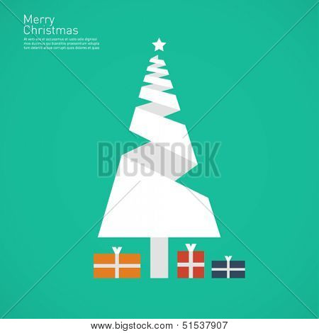 Christmas tree - origami style flat design background