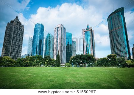 Beautiful City Greenbelt With Modern Buildings