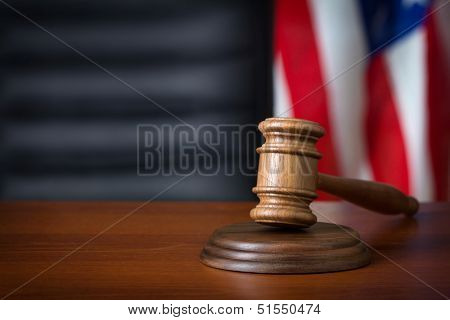 Gavel on court desk  poster