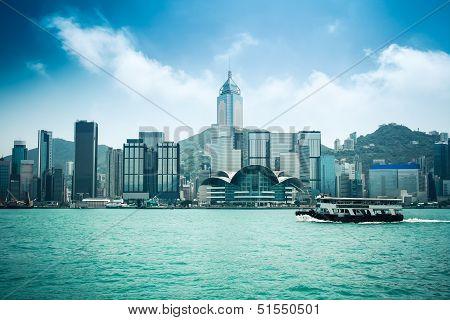 Hongkong Skyline With Ferryboat
