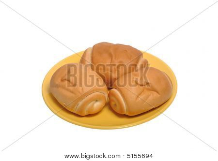 Plate With Buns Isolated On White
