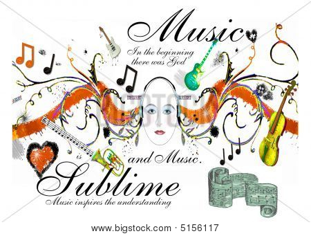 Music Sublime Scrolls N Headphones Listening To Instruments And Scrolling Music