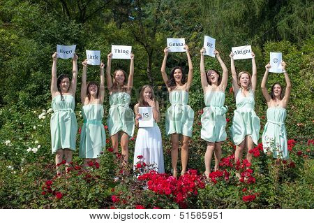 Group Of Female Models In Summer Park