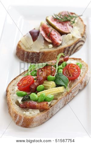 tartine, open sandwich isolated on white background poster
