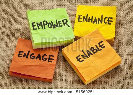 empower, enhance, enable and engage - business motivation concept -  handwriting on sticky notes poster