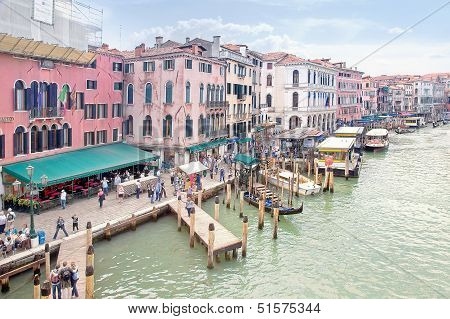 Embankment Of Grand Canal. Venice. Hdr