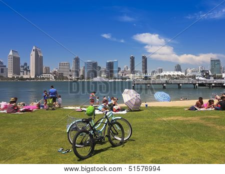 A San Diego Bay And Downtown View From Sdg&e Park