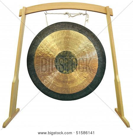 Traditional oriental gong isolated on white background poster