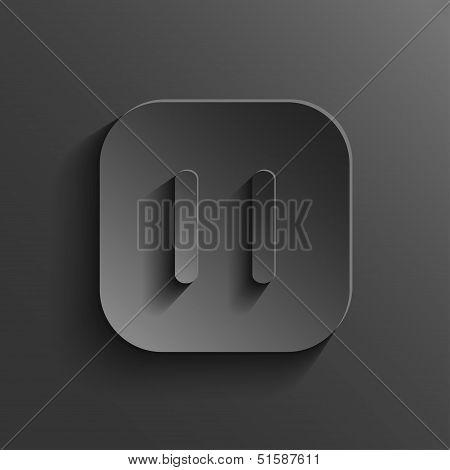 Pause Icon - Media Player Icon - Vector Black App Button