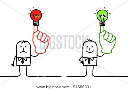 man with green or red light on finger