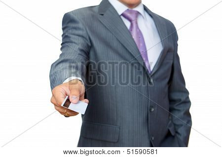 Business man with pastic card in hand