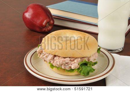 Tunafish Sandwich On A Bagel With Schoolbooks