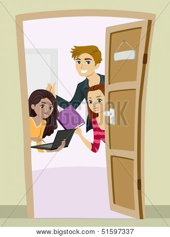 Illustration of Teenagers Carrying Studying Materials Peeking from Behind a Partially Opened Door