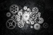 Grunge Cog Wheels and Gears Dark Background Design. poster
