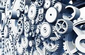 Gears and Cog Wheels 3D Render Illustration. Mechanical Abstraction Collection. poster