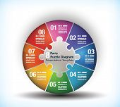 8 sided business wheel chart with place for text and connection between them poster