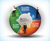 3 sided wheel chart with connected segments and illustration of business people poster