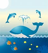 A whale and two dolphins are playing at sea. Colorful tropical fishes are swimming underneath. poster