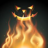 halloween smiling ghost on fire poster
