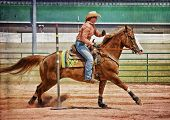 Western horse and rider competing in pole bending and barrel racing competition with texture. poster