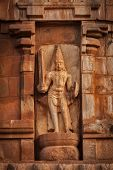 Ancient bas relief. Brihadishwara Temple. Tanjore (Thanjavur), Tamil Nadu, India. Great Living Chola Temples - UNESCO World Heritage Site poster