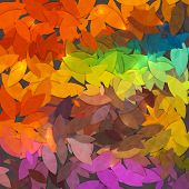 Bright abstract colorful autumn foliage vector background poster