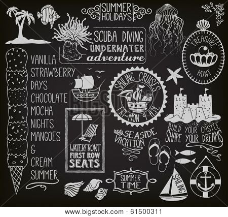 Summer Holidays Chalkboard - Blackboard with summer themed labels, banners, frames and clip art, including ships, sand castle, fish, anchor, beach umbrella and chair, seashells and ice cream