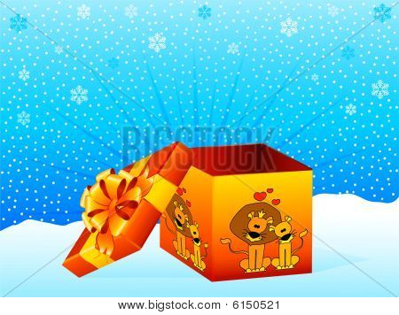 beautiful gift with a lions on a background for Christmastides poster