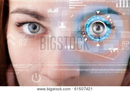 Future woman with cyber technology eye panel concept poster